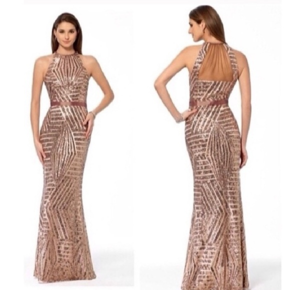 Cache Dresses | Rose Gold Sequined Mermaid Evening Gown | Poshmark